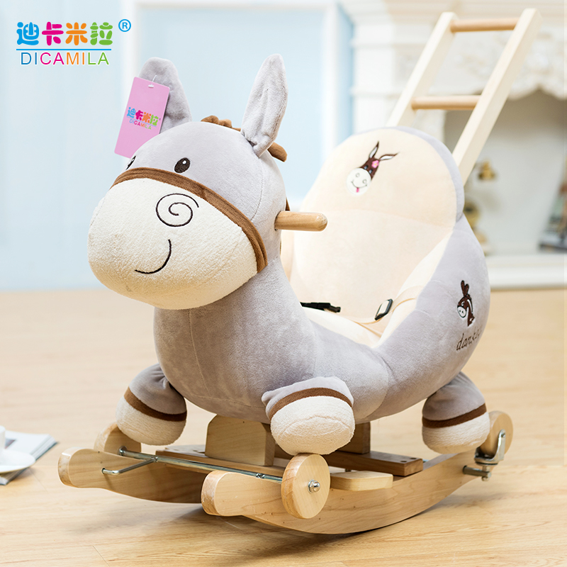 Music Rocking Horse Girl Solid Wooden Rocking Chair Baby Toy Trojan Horse Children's Dual-purpose Rocking Car Baby's First Year Gift