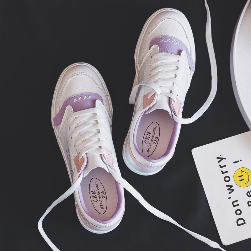 Leather white shoes women's shoes spring 2018 new wild flat Korean students basic fashion autumn canvas shoes