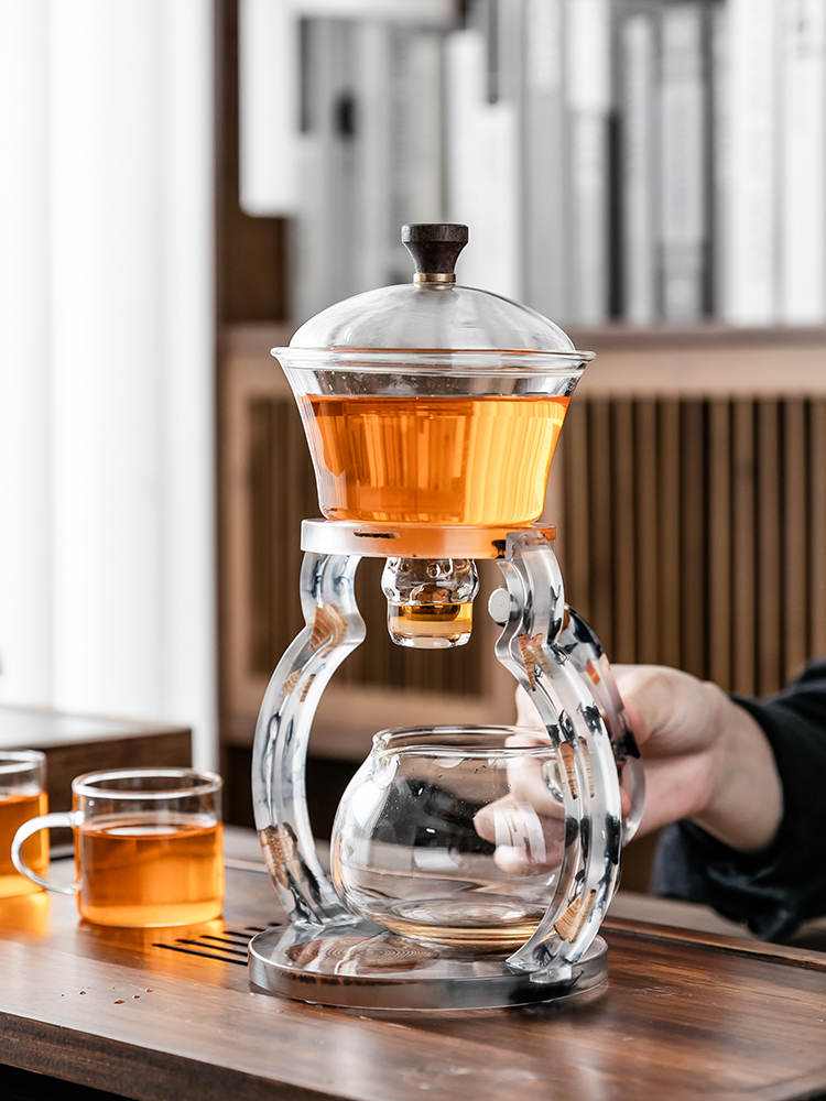 Pine fat net red creative full semi-automatic tea set glass lazy kung fu teacase set home heat-resistant tea machine