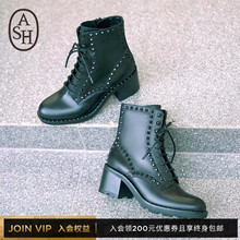 ASH Women's Shoes Fall 2019 New Martin Boots XIN Series Fashion Boots Cowskin Low-barrel Medium-high-heeled Shoes