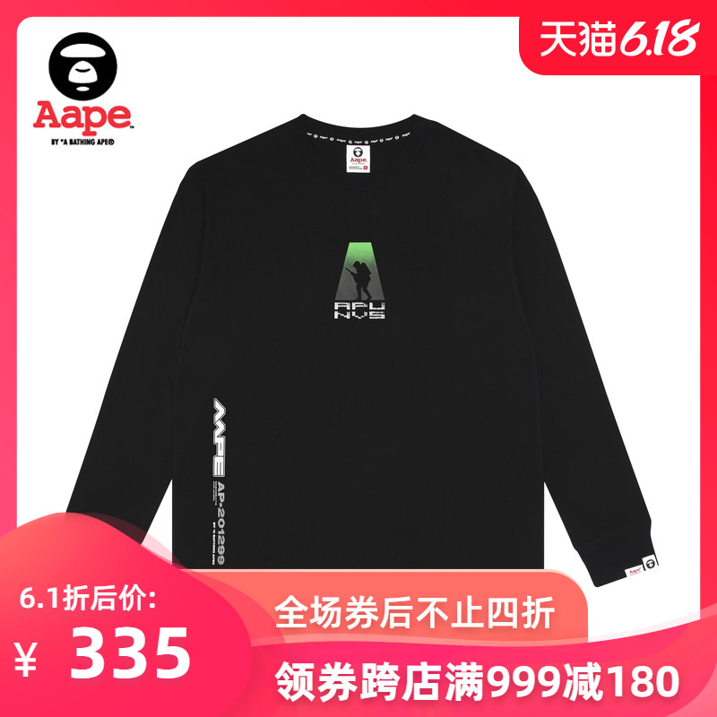 AAPE men's autumn and winter 3M ape line camouflage round seal letter printing trend long sleeve T-shirt 0369xxd