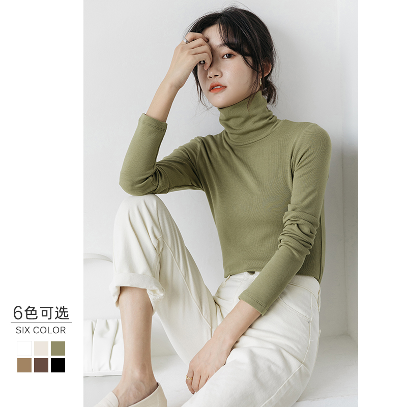 High-necked grinding long sleeves inside the tie-up womens autumn winter plush inside the trim black and white high-neck knitted T-shirt top