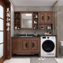 New Chinese washing machine cabinet red oak solid wood powder room impotence roller washbasin washbasin one cabinet combination