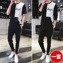 Summer short sleeved T-shirt suit men fashion brand long sleeves 2019 new fashion men's suit with handsome summer wear