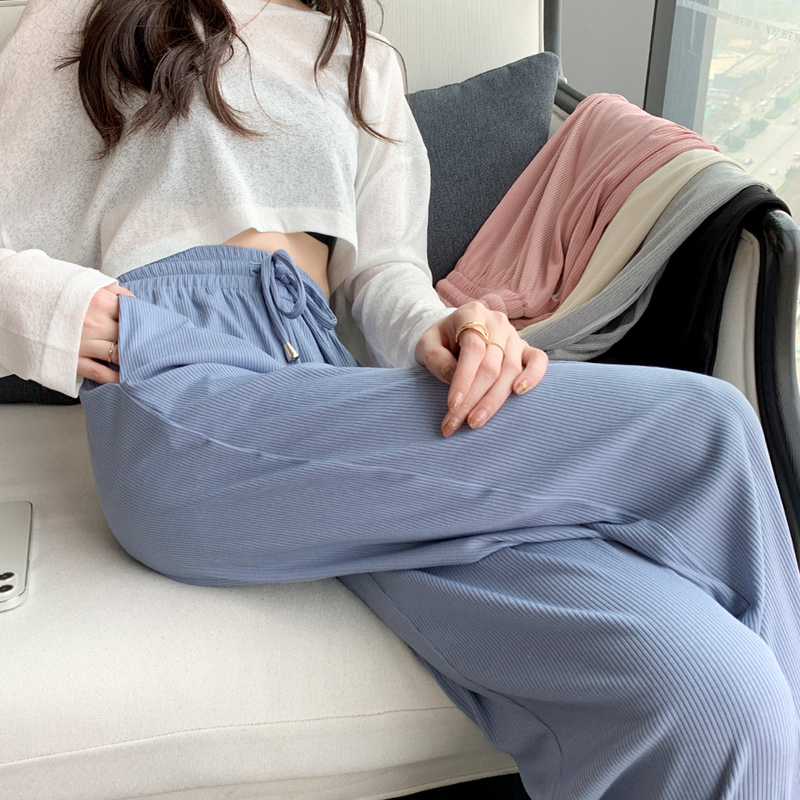 Ice silk wide-legged pants women high-waisted feeling 2021 new loose-fitting thin summer thin mop pants casual pants