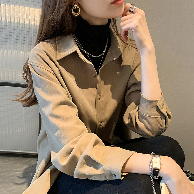 Wick velvet shirt female autumn winter ancient yang pie overlay wearing design sense niche shirt Port taste long-sleeved jacket jacket tide