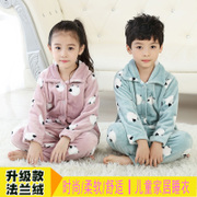 Autumn and winter boy children flannel pajamas baby girls wear coral velvet suit Home Furnishing thickened baby boy