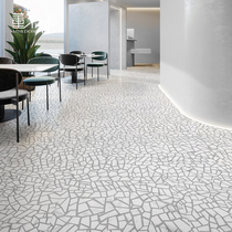 Terrazzo imitation marble gray white retro style square clothing store reinforced composite wood floor factory direct sales