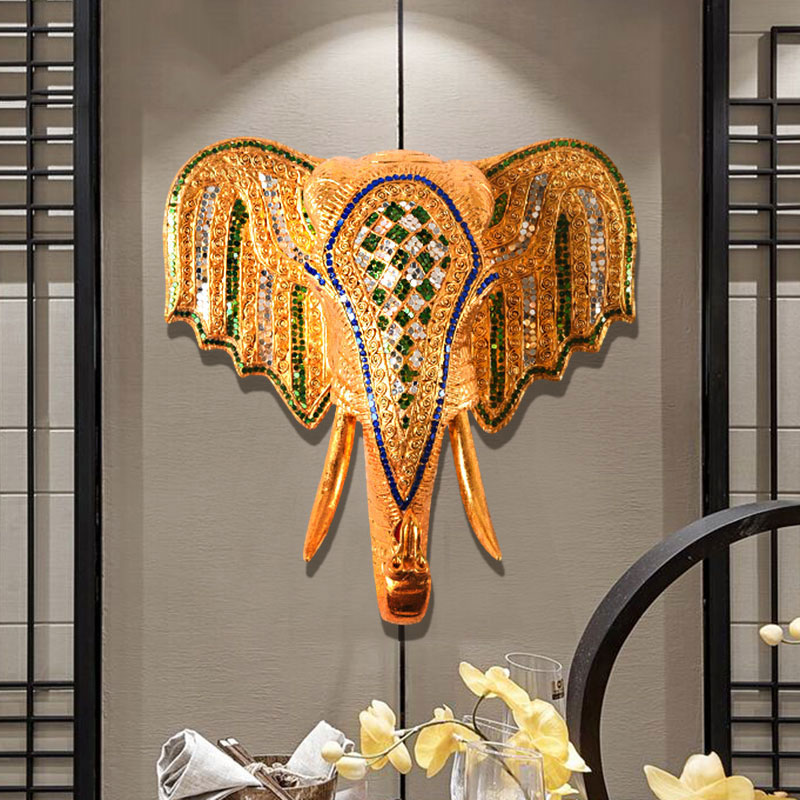 Elephant Head Wall Decoration in Southeast Asia Creative Home Jewelry Wall Decoration Living Room Background Wall Decoration
