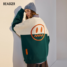 Beaster christmas new knitwear boy devil face red green white contrast sweater lovers