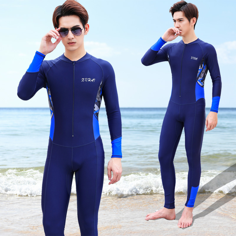 One piece swimsuit men's suit long sleeve pants sun proof quick drying top full body swimsuit men's floating diving mother's suit