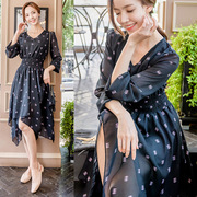 Korean sweet fresh waist thin irregular hem sleeves printed chiffon dress in the long autumn female