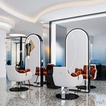 Hair salon mirror net red hair salon special single-sided double-sided mirror with light barbershop hot dyeing area Hair floor mirror