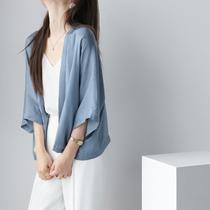 MZOMXO silk texture ultra-thin sunscreen clothing womens 2021 summer new small shawl thin cardigan womens top