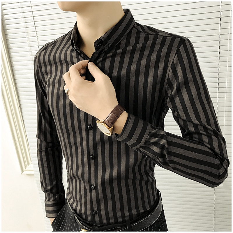 Light luxury striped shirt men's long-sleeved winter self-cultivation trend handsome plus velvet shirt men's business casual warm inch