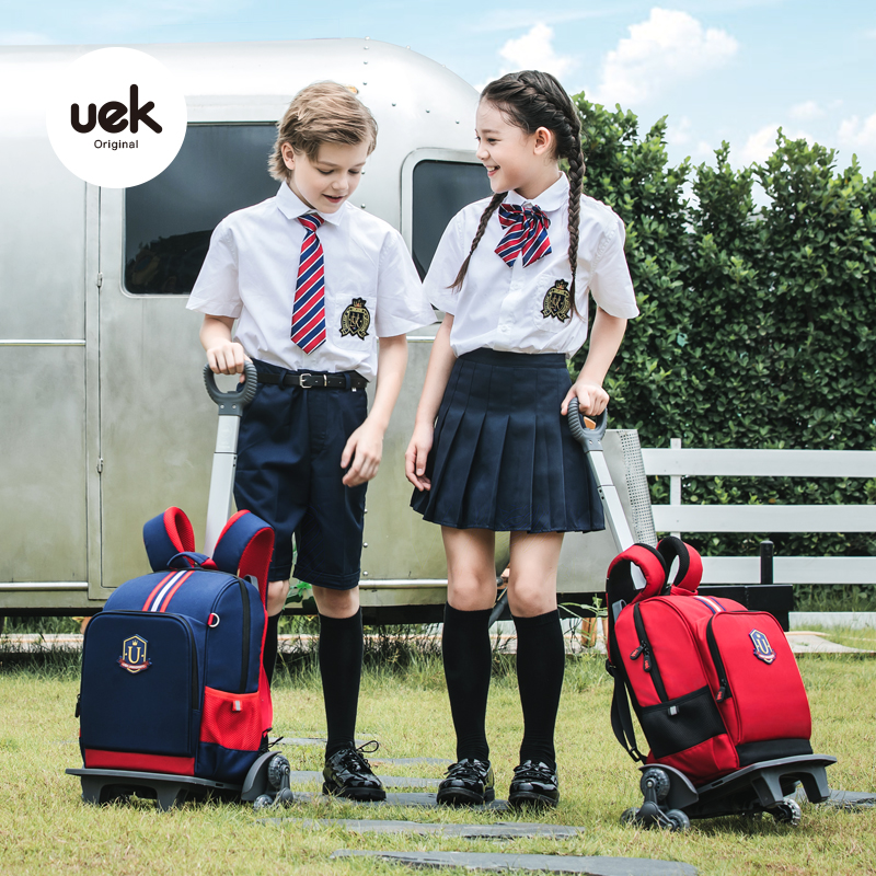 UEK primary school students pull-rod schoolbag girls waterproof climbable pull-rod back dual-purpose boys and girls hand-pulled schoolbag