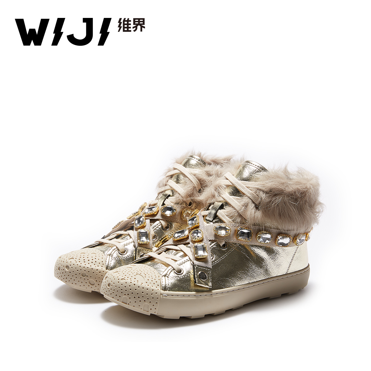 WIJI2018 fashion new European and American street casual tide shoes personality short boots warm snow boots high to help women's shoes