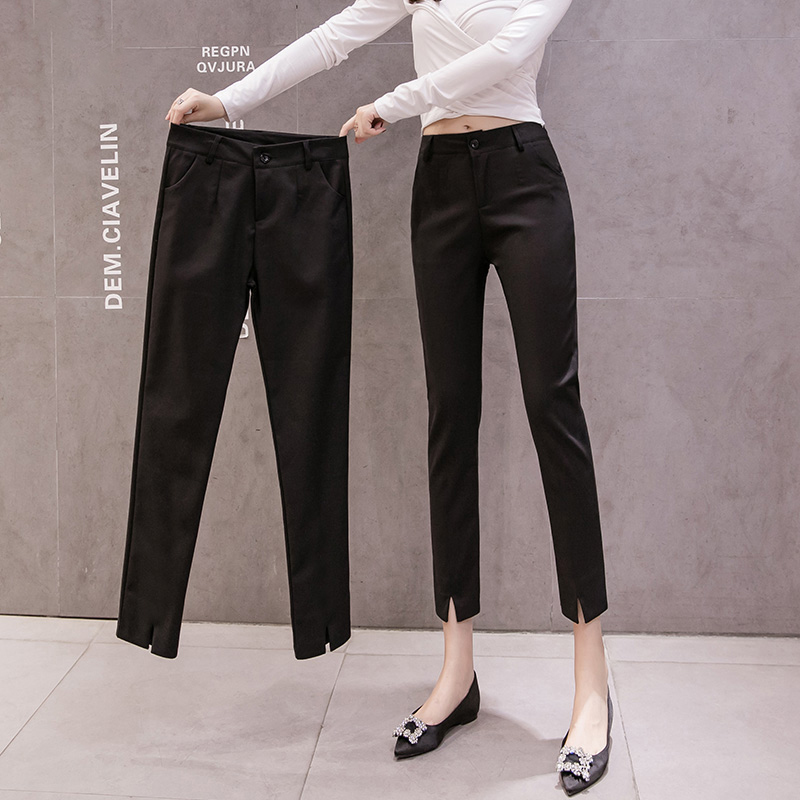 Spring and autumn suit pants nine points 2021 new straight barrel high waist thin with summer black small feet short womens pants