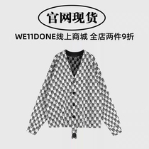 (Official website Spot) we11done early spring knitted full print LOGO wool cardigan double-faced sweater coat women