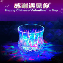 Meet the water glow magic colorful water induction flash cup shake sound the same light cup see water glow cup magic
