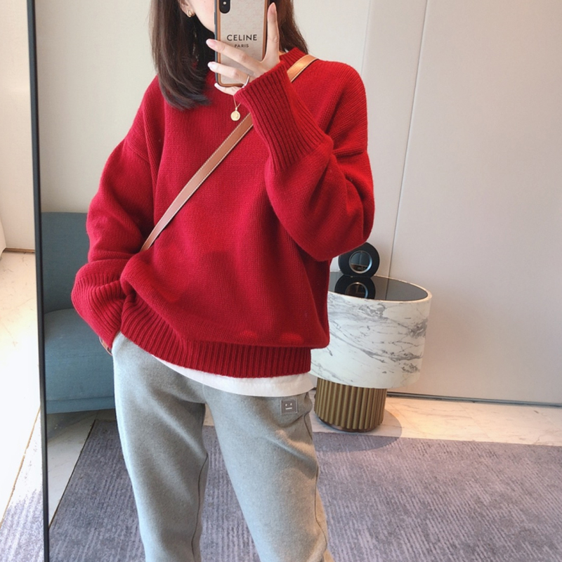 2020 blast new loose lazy wind New Year red top sweater this year womens winter thickened foreign pie