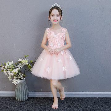 粉色女童生日公主裙花童蓬蓬纱婚纱儿童礼服裙小女孩钢琴演