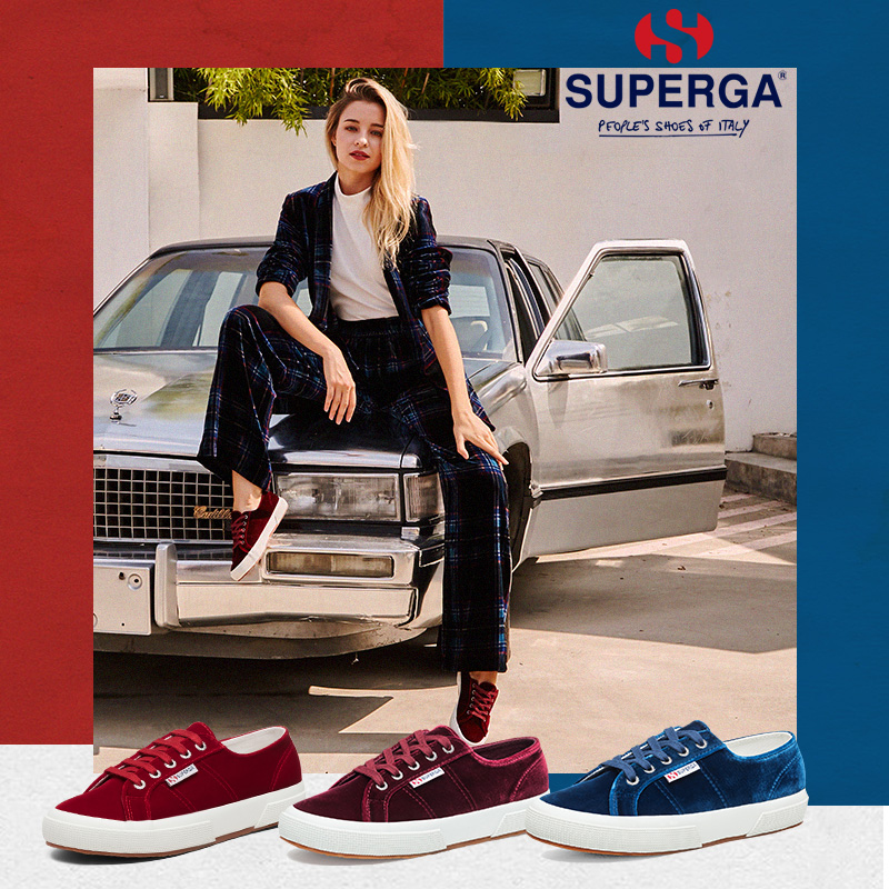 SUPERGA Saint Pega 2018 autumn and winter new silk velvet women's shoes Fashion versatile comfortable lace casual shoes