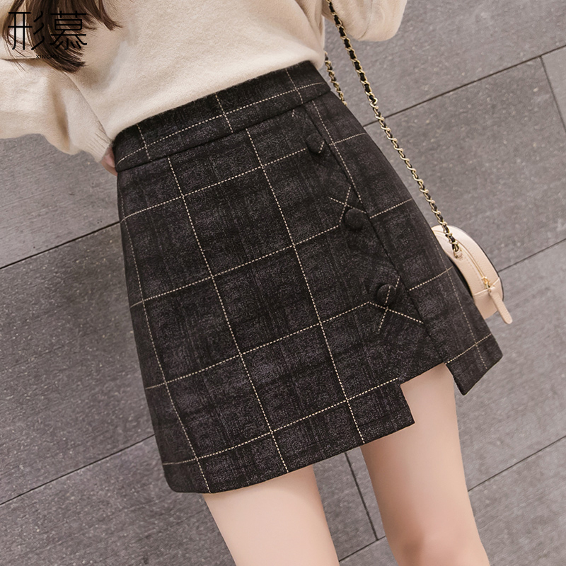 Woolen fashion plaid half-length skirt women's winter skirt 2020 new a-line high waist bag hip skirt autumn and winter