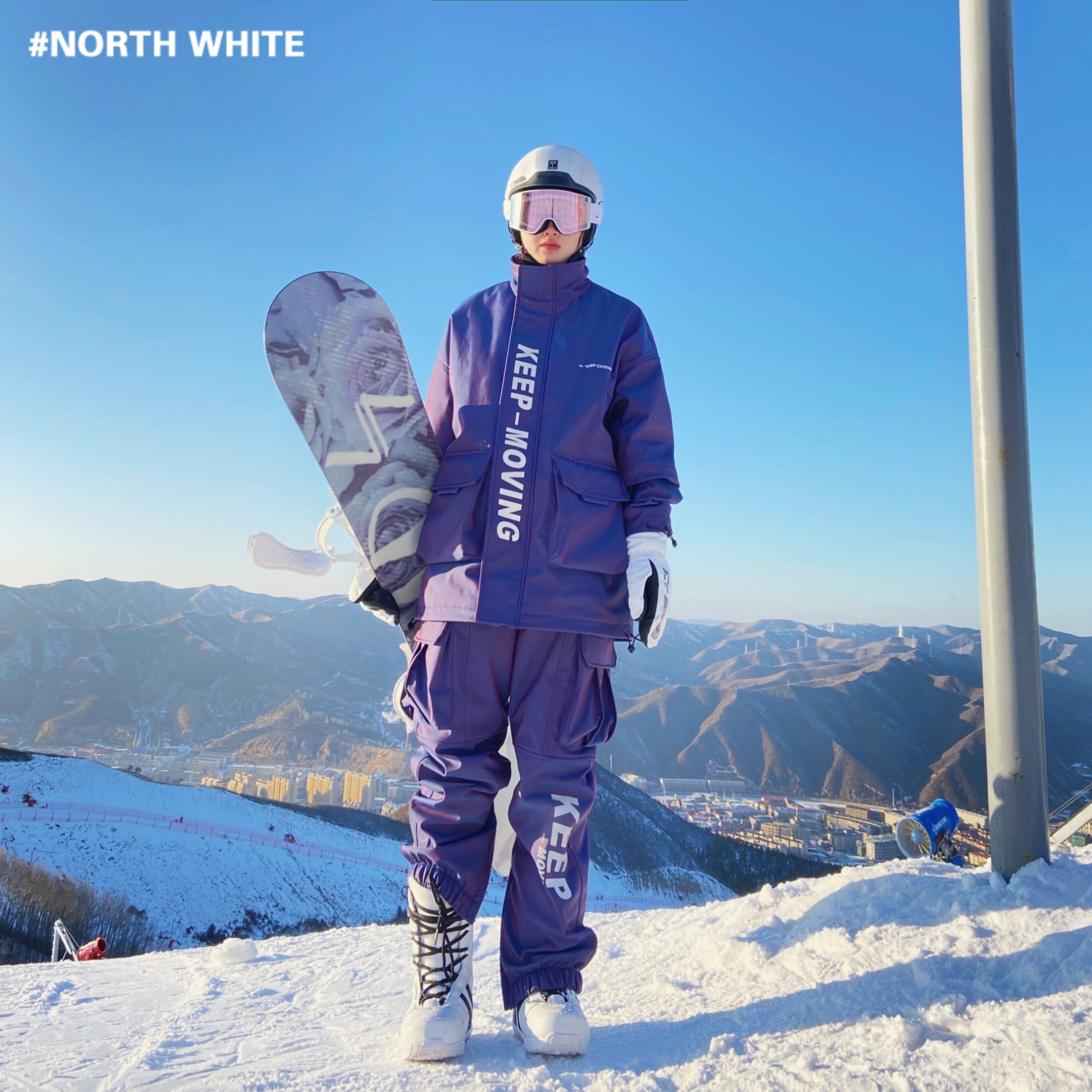 ZACHARIAH This snowy mountain colorful reflective ski suit single-plate windproof waterproof warm two-piece professional suit