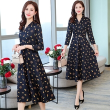Feminine fragmented flower dress spring and autumn dress 2019 new style early autumn fashion high-end temperament lady