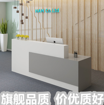 Front desk bar table Company wood table imitation marble cashier paint front desk reception counter simple front desk