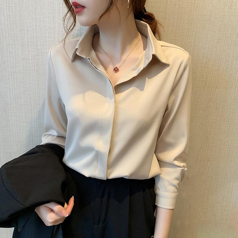 Silk shirt women 2021 new professional suit with long-sleeved design sense niche blouse white silk shirt