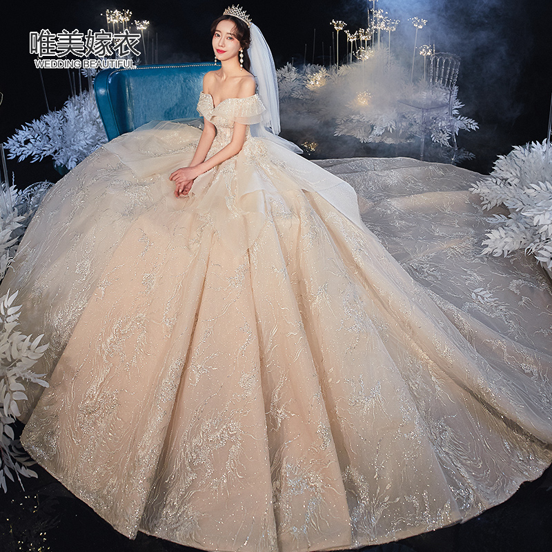 2020 the new wedding dress, the bride's shoulders, luxurious dress, long tailed net, red voice, luxurious luxurious starry sky.
