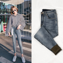 2019 autumn and winter New plus velvet nine points jeans female high waist chic tight was thin eight feet pants spring