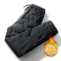 Down pants men in winter also wear plus plus plus thick pressed rubber duck down pants outdoor sports warm straight cotton pants to protect against the cold pants