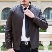 Young men's clothing in the middle of the old men's new casual leather jacket middle-aged father decoration coat