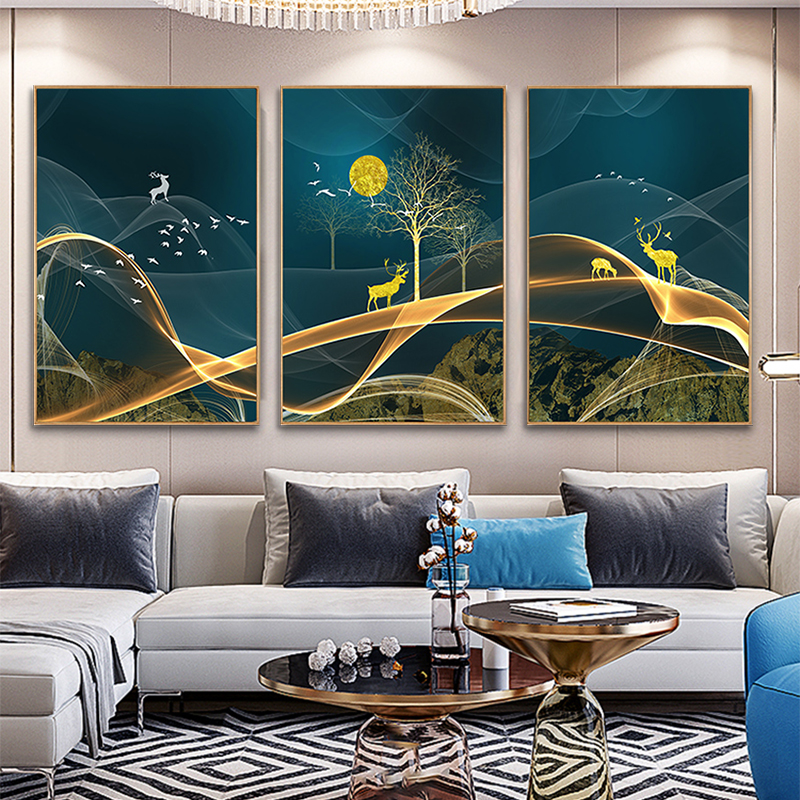 Nordic living room decorative painting sofa background wall hanging modern concise tripartite abstract art light luxury crystal porcelain painting
