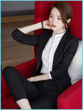 Suit Suit Women's Autumn and Winter Professional Suit 2019 New Fashion Temperament Stripe Suit Hotel Manager's Workwear