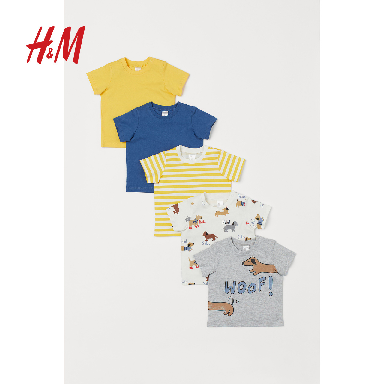 HM children's Baby Boy T-Shirt 2020 spring new 5-piece children's short sleeve top 0725787