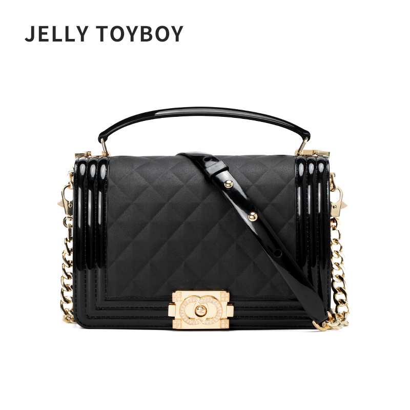 JELLYTOYBOY Hong Kong Baggage Girls New Style Slant Baggage Fashion Hand-held Link Chain Single Shoulder Jelly Hundred Picks