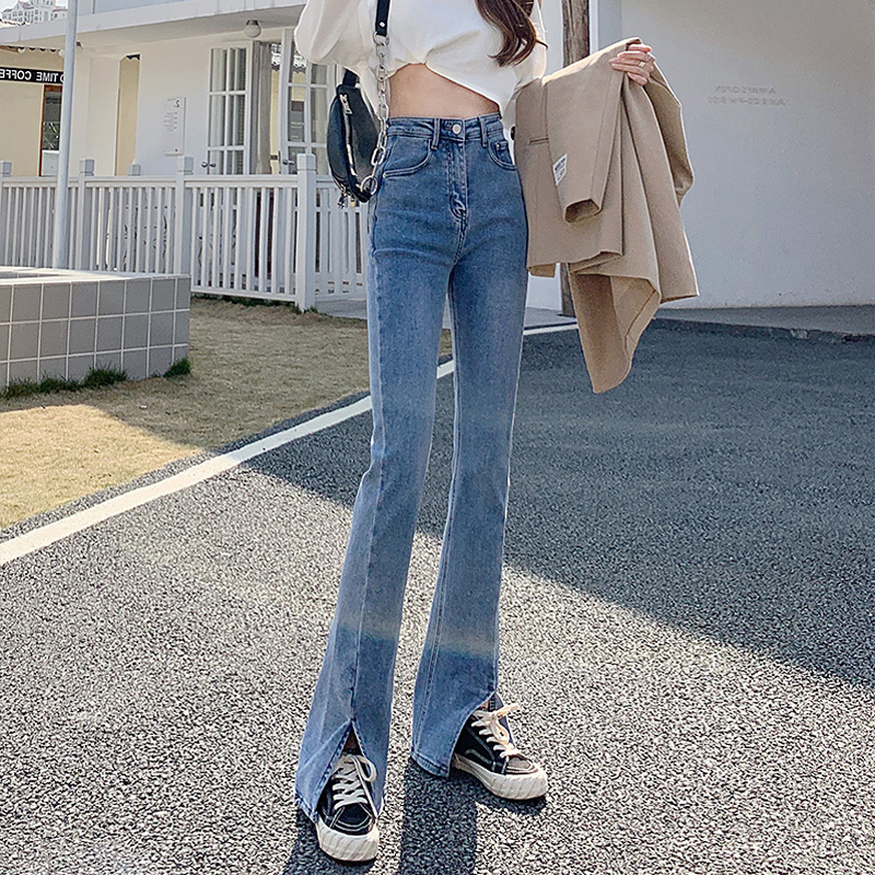 Forked micro-lama jeans womens spring new thin elastic broad-legged pants high-waisted sagging fashion moped flared pants