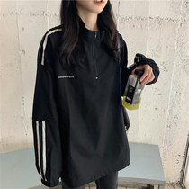 Womens thick T-shirt autumn winter 2020 new Korean version of loose-sleeved womens top with three 槓 cardigan jacket