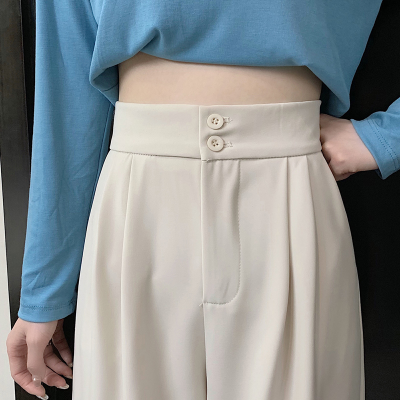 Wide-legged pants womens spring 2021 new Korean version of loose-fitting thin high-waisted thin casual suit straight pants