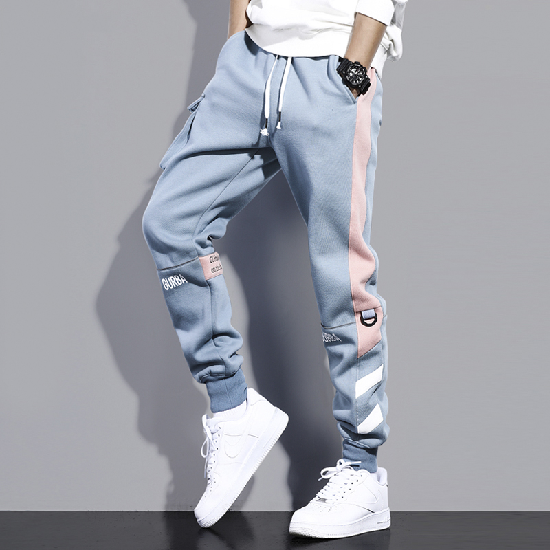 Autumn and winter casual sweatpants mens tide brand hundred with loose Korean version of the trend tie pants boys knitted plus velvet pants