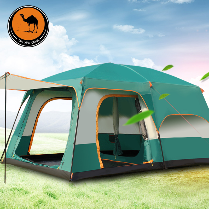 Camel Outdoor Two Rooms, Two Rooms, One Hall Rain-proof Tent Camping 6-5-8-10-12 People Thickened Camping Tent
