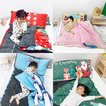 Autumn and winter children 8-year-old primary school students sleeping bag removable and wash thickened plus velvet 6-year-old child anti-kick by zipper 7-year-old quilt