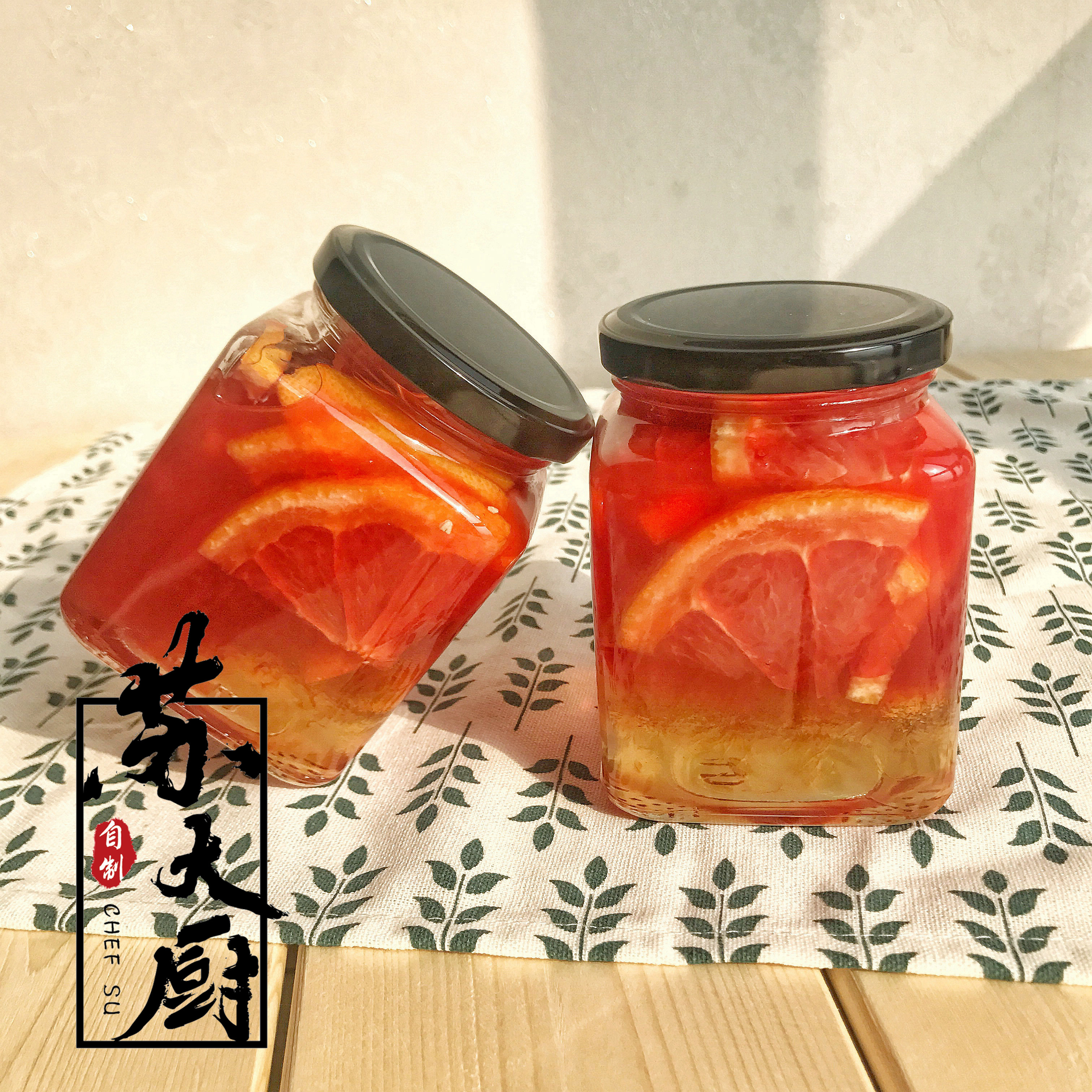 [The goods stop production and no stock][Sou Chef] Honey Grapefruit Tea Grapefruit is full Full cup of red pomelo handmade without added homemade fruit tea