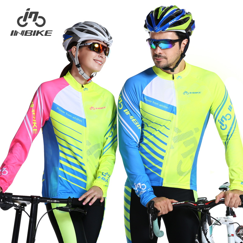 INBIKE Spring and Autumn Couple Long Sleeve Cycling Suit Pants Equipped with Thin Furry Glory Suit