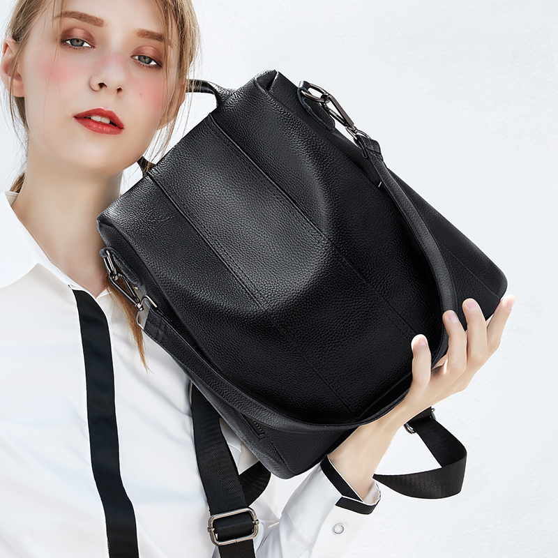 Leisure burglar-proof double-shoulder bag woman 2019 new genuine leather bag Korean version soft leather fashionable top-level cowhide Backpack