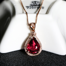 Icai Jewelry Brazilian Natural Ruby Seal Drop Female 18K Golden Diamond Necklace and Ruby Female